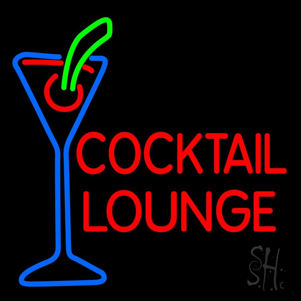 Cocktail Lounge With Martini Glass Neon Sign | Cocktail