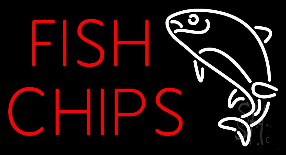 Fish chips block neon sign fish chips neon signs every for Fish neon sign