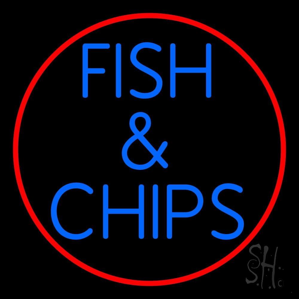 Round fish and chips neon sign fish chips neon signs for Fish neon sign