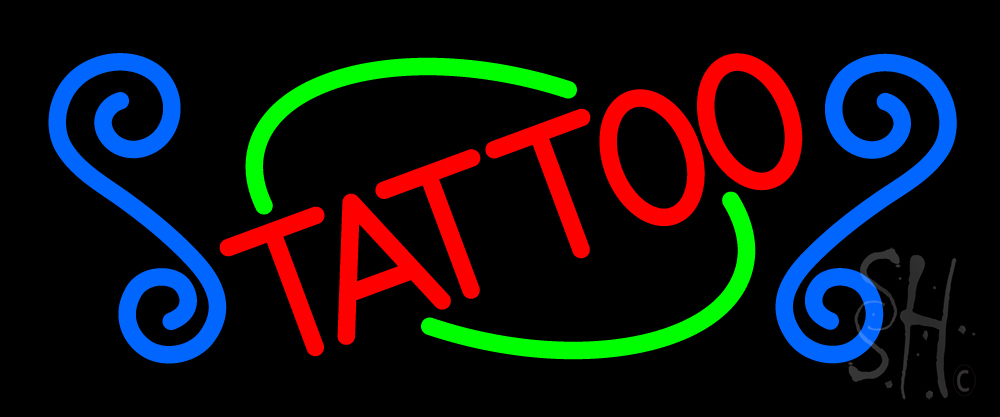 Red tattoo neon sign tattoo neon signs for Neon tattoo signs