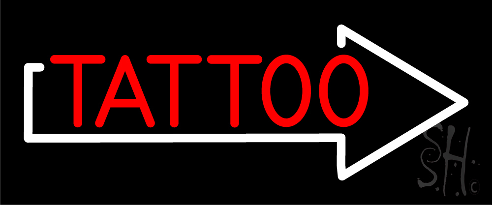 Red tattoo with arrow neon sign tattoo neon signs every for Neon tattoo signs