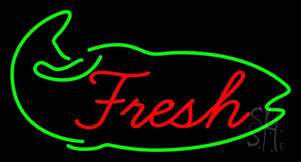 Fresh fish logo neon sign seafood neon signs every for Fish neon sign