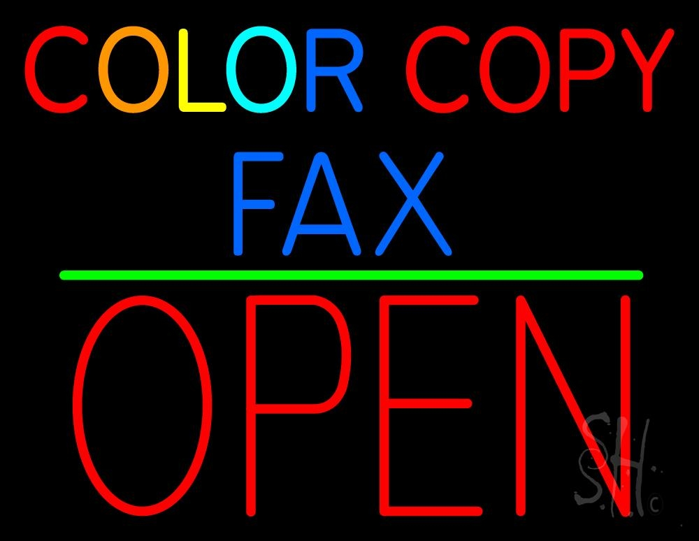 """The Sign Store Color Copy Fax Open 1 Outdoor Neon Sign 24"""" Tall x 31"""" Wide x 3.5"""" Deep at Sears.com"""
