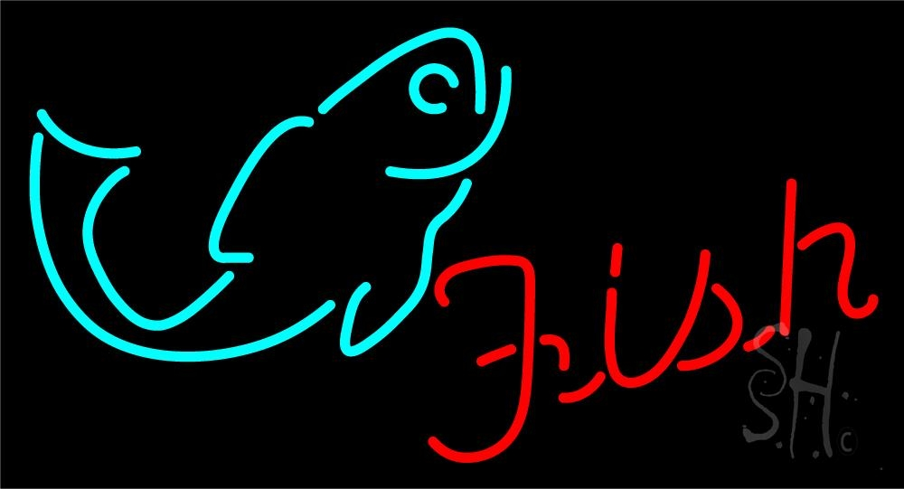 Red fish logo 1 neon sign fish neon signs every thing neon for Fish neon sign