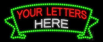 Custom Green Ribbon Led Sign