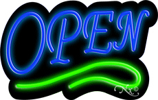 Deco Style Blue Open With Green Line Neon Sign