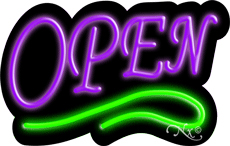 Deco Style Purple Open With Green Line Neon Sign