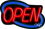 Deco Style Red Open With Blue Border Neon Sign