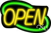 Deco Style Yellow Open With Green Border Neon Sign