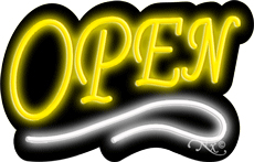 Deco Style Yellow Open With White Line Neon Sign