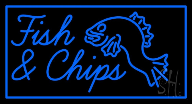 Blue fish and chips with fish neon sign fish chips for Fish neon sign