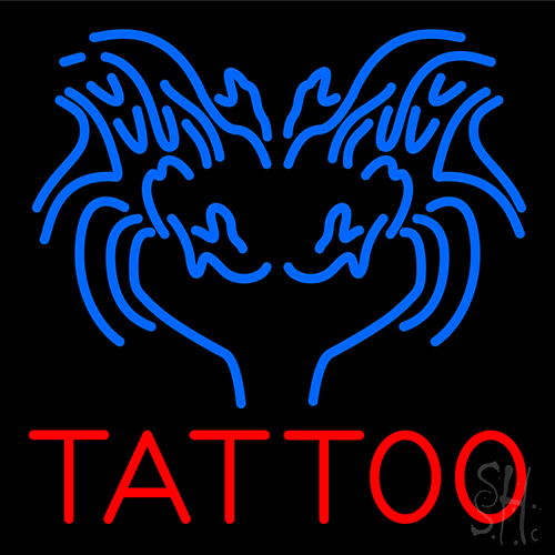 Blue tattoo logo neon sign tattoo neon signs every for Neon tattoo signs