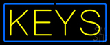 Yellow Keys Blue Border Neon Sign