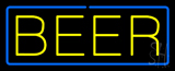 Yellow Beer with Blue Border Neon Sign