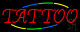 Vertical Yellow Tattoo with Blue Border Neon Sign