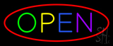 Multi Open with Red Oval Border Neon Sign