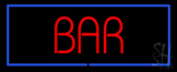 Red Colored Bar with Blue Border neon sign