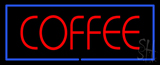 Red Coffee with Blue Border Neon Sign