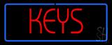 Red Keys Blue Border Neon Sign