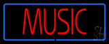 Music Block Blue Border Neon Sign