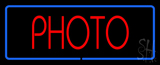 Red Photo Blue Border Neon Sign