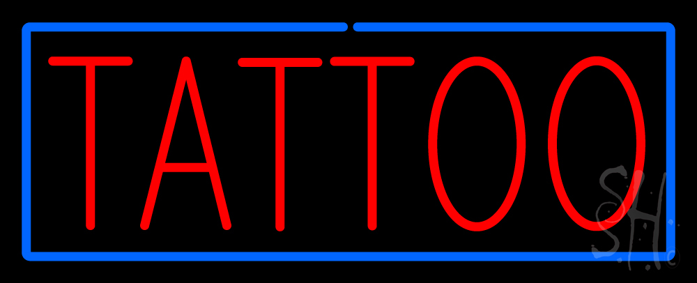 Red tattoo blue border neon sign tattoo neon signs every for Neon tattoo signs