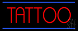 Red Tattoo Blue Border Neon Sign