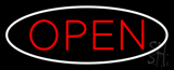 Open Oval White Red Neon Sign