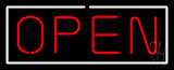 Open - Horizontal Red Letters with White Border Neon Sign