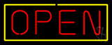 Open - Yellow Border Red Letters Neon Sign