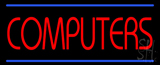 Red Computers Blue Lines Neon Sign