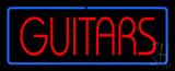 Guitars Block Blue Border Neon Sign
