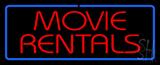 Red Movie Rentals Blue Border Neon Sign