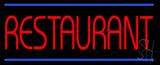 Red Restaurant Blue Border Neon Sign