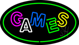 Games Oval Green Neon Sign