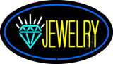 Jewelry Logo Oval Blue Neon Sign