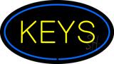 Keys Oval Blue Neon Sign