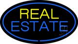 Real Estate Oval Blue Border Neon Sign
