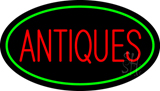 Antiques Green Oval Neon Sign