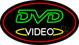 DVD Video Oval Red Neon Sign