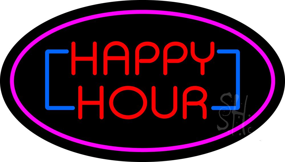 Happy Hour Oval Pink Neon Sign | Happy Hour Neon Signs