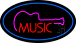 Music Oval Blue Neon Sign