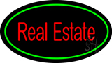 Real Estate Oval Green Neon Sign