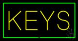 Keys Rectangle Green Neon Sign