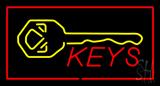 Keys Logo Rectangle Red Neon Sign