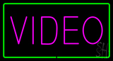 Purple Video Green Rectangle Neon Sign