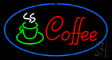 Oval Red Coffee Logo with Blue Border Neon Sign