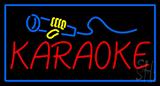 Karaoke Logo Rectangle Blue Neon Sign