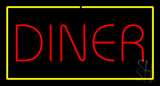 Diner Rectangle Yellow Neon Sign