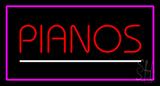 Pianos White Line Purple Rectangle Neon Sign